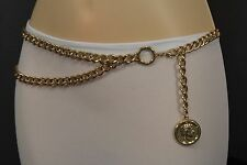 New Women Metal Chain Belt High Waist Hip Gold Greek Style Coin Charms XS S M