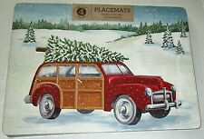 "CHRISTMAS CORKED BACKED PLACEMAT'S Set of 4 VINTAGE RED WOODIE CAR 11.8""X15.75"""