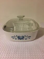 Corelle Corning Blue heart A 2 B covered casserole with A 9 C lid 2L