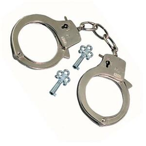Children's Toy Metal Handcuffs with Keys & Safety Release - Fancy Dress