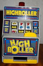 Toy Radica High Roller Slot Machine Coin Bank Flashing Lights 1994 Working