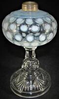 Antique Pearly White Opalescent Hobbs Dot Kerosene / Oil Pedestal Stand Lamp