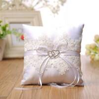 1PC 15cm Square Wedding Ring Pillow Coussin Alliance Bridal Flower Lace Cushion