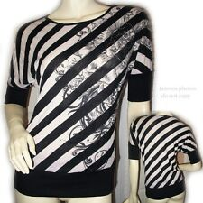 Black And White Striped Floral Print Short Sleeve Shirt Top Blouse Womens Tops M