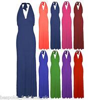 New Ladies Womens Sleeveless Tie Halter Neck Low Back Maxi Dress Plus Size 16-22