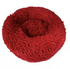 Red Warm Comfy Calming Dog/Cat Round Soft Plush Pet Bed Marshmallow 50CM UK