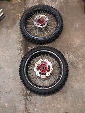 Honda Crf 450 2012 Talon Wheels Front Rear Wheel Disk Tyres Red Hubs Black Rims