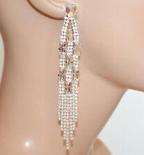 ORECCHINI ARGENTO donna fili pendenti strass cristalli trasparenti sposa N22