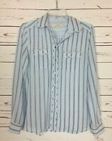 Loft Women's XS Extra Small Light Blue Striped Long Sleeve Spring Top Blouse