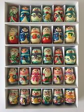 Christmas Tree Decoration Set Ornaments 6 Russian Wooden Toys Dolls Hand Painted