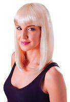 Ladies Shoulder Length Fancy Dress Blonde Wig With Fringe Cheerleader Lady Gaga