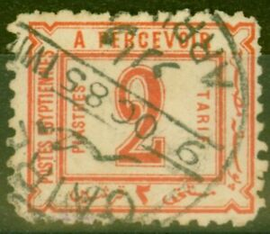 Egypt 1884 2pi Red SGD60x Wmk Impressed on Face Fine Used Un-Priced by Gibbons