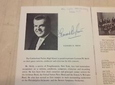 Conductor LEONARD B. SMITH Autographed Program  1965