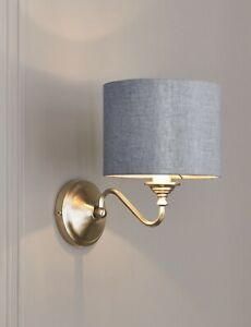 Next Burford Brass Wall Light with Gold Metallic Lined Grey Shade Elegant Home