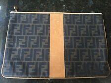 ce700e794491 Vintage Fendi Zucca Canvas Logo Zipper Envelope Clutch Pouch Bag