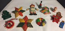 Vintage Christmas Ornaments Handmade Homemade Mixed lot of 12 Fabric Wood