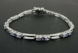Purple Amethyst Color Cubic Zirconia Round 925 Sterling Silver Link BRACELET