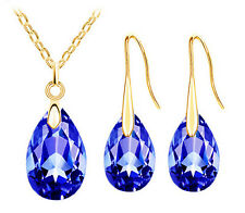 CRYSTAL NECKLACE AND EARRING SET BLUE (GOLD) WEDDING BRIDESMAID PROM BIRTHDAY