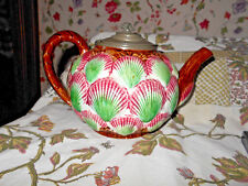 Antique Etruscan Majolica Sea Shell & Seaweed Teapot with Pewter Lid~ Pristine~