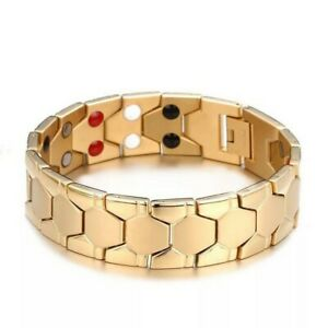 Mens Gold Double Strength 4 Elements Magnetic Bio Therapy Bracelet Energy Bangle