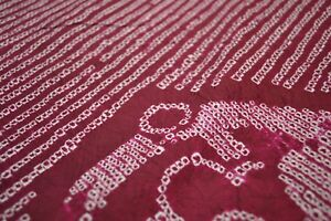 Japanese Silk maroon Shibori design 1440