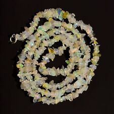 "925 Sterling Silver 18"" Necklace Natural Ethiopian Opal 4-6 mm Chips Beads OKI55"