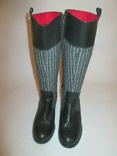 Black/Check Long Boots - Black - Size 4 - Hardly worn