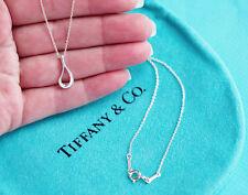 Tiffany & Co Elsa Peretti Plata de Ley Abierto Colgante Lágrima Collar 40.6cm