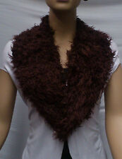 FASHION FAUX FUR COLLAR : PRE CUT AND FULLY LINED : BURGUNDY : #T549 -
