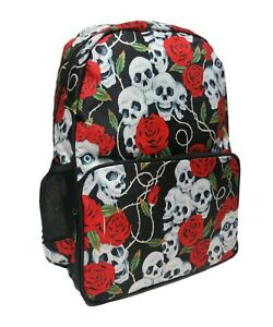 SKULL ROSE Backpack Rucksack School College EMO GOTH Tattoo Rock Laptop Bag