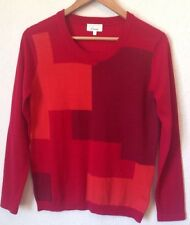 Linea Size S Red Mix Geo Colour Block Fine Knit Merino Wool Jumper <BC761