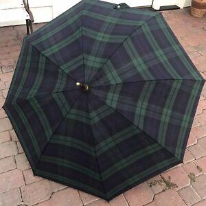 Polo Ralph Lauren Vintage Navy and Green Plaid Umbrella Wooden
