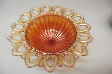 VTG  NORTHWOOD WILD ROSE MARIGOLD CARNIVAL GLASS CANDY DISH OPEN LACE EDGE