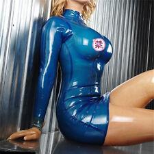 Latex Women Dress Slim Transparent Blue Rubber Vestidos Party Dress