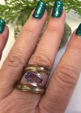 Amethyst 925 Silver & Copper Ring Size S Pagan Wicca Reiki Chakra Heal Summer