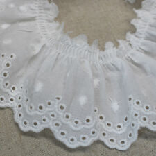 """1yd Broderie Anglaise gathered eyelet lace trim  2.4""""(6cm) white sh33 laceking"""
