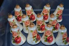 Vintage Krebs 12 Victorian Floral Rose Bell Shape Christmas Ornaments Glass