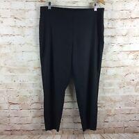 J Jill Womens Linen Stretch Black Cropped Capri Pants Size Large