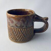 Toffee Brown Drip Glaze Artisan Made Studio Pottery Mug Signed deGraaf '91 EUC