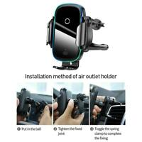 Baseus 15W Wireless Charger Car A/C Air Vent Clip Suction Cup Phone Holder Mount