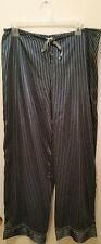 George Sleepwear Lounge Pants Womens Size L (12/14)  Navy Blue White Stripes