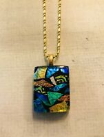 Handcrafted Fused Dichroic Glass COLORFUL Pendant *FREE SHIPPING