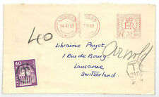 EE250 1961 SWITZERLAND Postage Stamp Used As Postage Due GB Meter Mail London