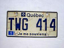 QUEBEC License Plate # TWG 414