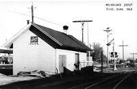 Clive Iowa~Milwaukee Road~Railroad Depot c1965~Signals~1970 Real Photo Postcard
