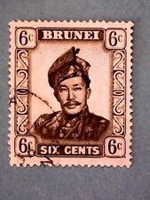 Brunei. QE2 1952 6c Black & Grey. Wmk Mult Script CA. SG104. P13. Used.
