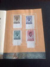 India 1948 GANDHI Ghandhi Mourning Issue All 4V Mint Selvedge Memorial Folder