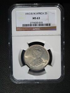 1913 British West Africa 2 Shillings, NGC MS 63, Nigeria, Ghana