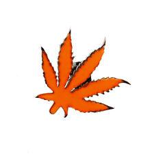 Lucien Pellat-Finet Silver Neon Orange Marijuana Leaf Singular Earring Stud