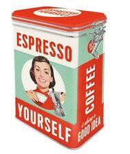 Retro ESPRESSO YOURSELF Coffee CLIP TOP STORAGE TIN Cookie Jar